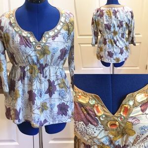 Art and Soul tunic with jeweled neckline
